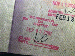 My passport stamp from US-Immigration just days before September 11, 2001